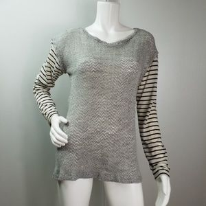 LNA Open Weave Striped Stretch Top Sz L  2171